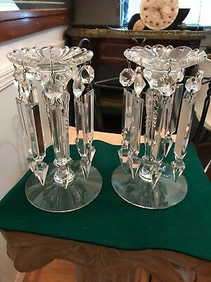 """Vintage Pressed Glass Candle Stick Lusters 5"""" Spear Tip Crystals"""
