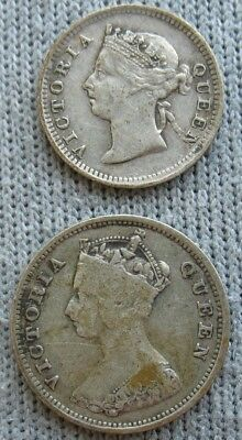 Hong Kong 1899 Silver 5 Cents and 1897 10 Cents (2 Coins)