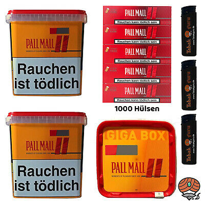 3x Pall Mall Allround Giga Box 250g Tabak/Volumentabak, Authentic Hülsen, Feuerz