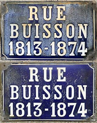 Antique French street road sign plaque enamel Jean-Baptiste Buisson Bush Loire