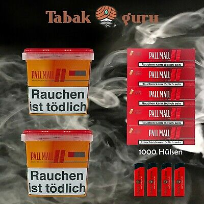 2 Pall Mall Giga Box 250g Tabak/Volumentabak, Pall Mall Authentic Hülsen Feuerz.