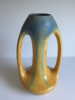 Vntg Deco THULIN Belgium Art Pottery Two Handle Vase Blue Drip Yellow Glaze 25