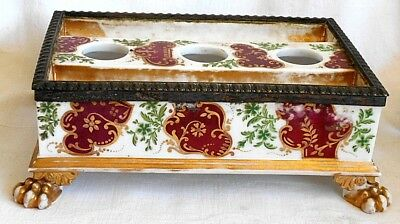 Early C19Th French Hand Painted Empire Style Desk Stand With Silver Plate Mount