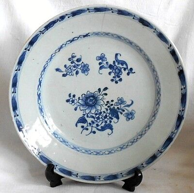 C18Th Chinese Blue And White Plate With Sprays Of Flowers Within A Border