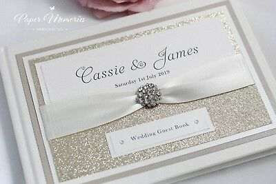 Cassie - Personalised & Boxed Glitter Diamante Cluster Wedding Guest Book