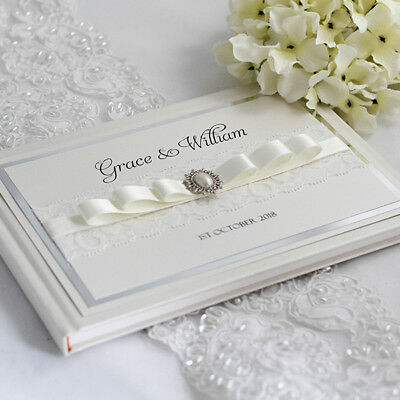 Grace - Personalised & Boxed Vintage Lace & Pearl Wedding Guest Book