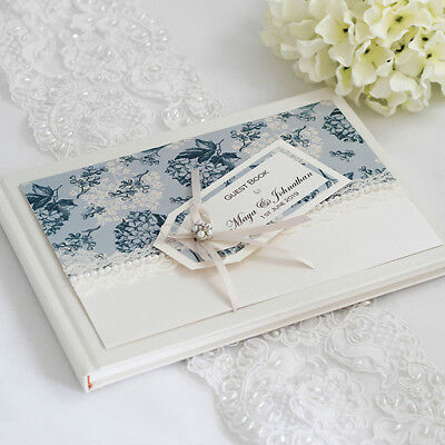 Maya Blue - Personalised & Boxed Hydrangea, Lace & Pearl Wedding Guest Book