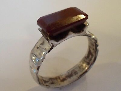 EXT RARE,DETECTOR FIND,2nd Cent ROMAN SILVER RING WITH REAL,NATURAL 4.2 ct RUBY