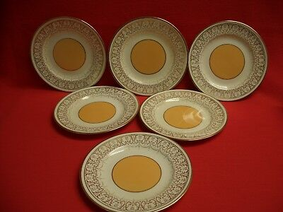 "6 Crown Staffordshire ~ Cream Gold Filigree  / Yellow Inner ~  7"" Tea/side Plate"