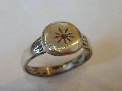 Intact,beautiful,detector Find, 200-400 A.d Roman (Sun) Silver Ring.polished