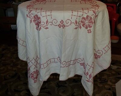 """Vintage HAND EMBROIDERED Linen Tablecloth 46"""" Square Red and White"""