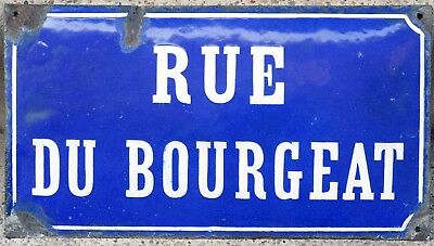 Old blue French street road sign plaque plate enamel name Rue du Bourgeat Loire