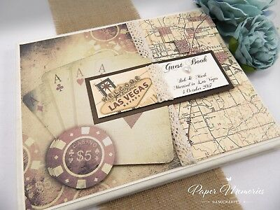 Boxed & Personalised Vintage Las Vegas Poker Wedding Guest Book