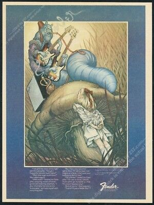 1975 Fender Stratocaster guitar Alice in Wonderland hookah caterpillar print ad