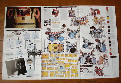 80s Vtg 1983 GRETSCH DRUMS Drum Set/Snare 2 Sided Catalog Poster Drum Brochure