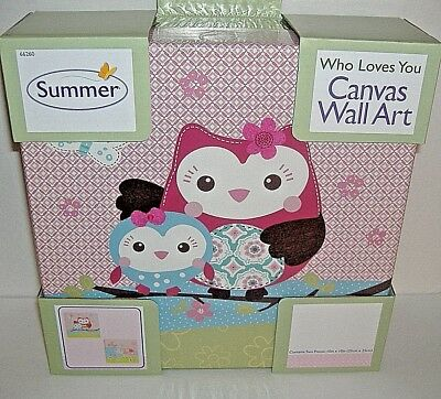 Summer Who Loves You Canvas Wall Art 2 Piece Nursery Baby Owls-New