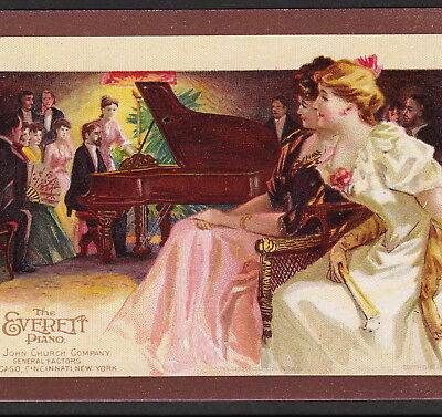 John Church Co Everett Piano 1800's Recital old Victorian Advertising Trade Card