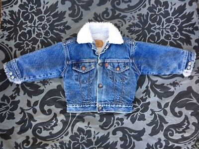 VTG Kids Levi's Sherpa Lined Denim Trucker Jacket usa 70s 80s Child Grunge Retro