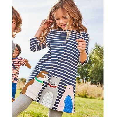 BS Kids Girl Cotton Long Sleeves Animals Striped Top Dress Casual Autumn Winter