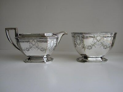 Rare Antique Silver Plate Sterling Borders Barbour 7300 Creamer & Sugar Bowl