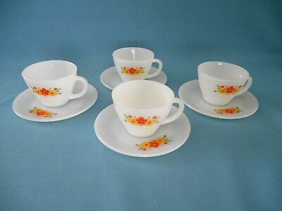 4 Fire King Yellow & Orange Flower Cups & Saucers