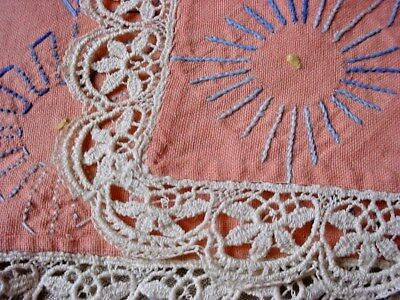 Shabby Embroidered Runner Pale Coral w Lace 17 by 43 inch Dresser Scarf Vtg