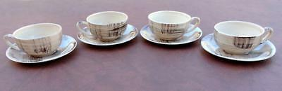 Vernon Kilns BARKWOOD Vernonware Cup & Saucer LOT of 4 Vintage Mid Century EXC