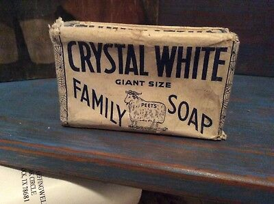 Vintage Never Opened Crystal White Packaged Soap Bar ~ Collectible Decor*