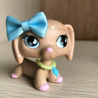 Littlest Pet Shop LPS #909 Tan Pink Dachshund Dog Sportiest With Accessories