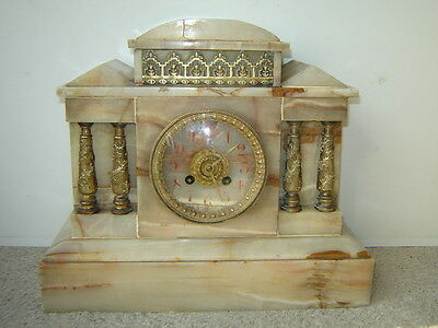 Estate Rare Heavy 36 lb French Marble Shelf Mantle AD MOUGIN Clock Marble Dial