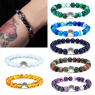 Women 7 Chakra Bead Elastic Bracelet Braided Agate Lava Natural Stone Bangle
