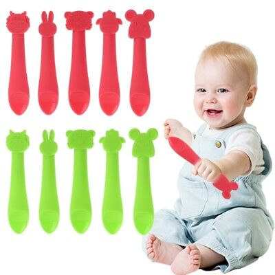 Cartoon Baby Spoon BPA Free Silicone Tableware Feeding Safe Training Infant Soft