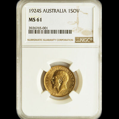 RARE KING GEORGE THE V 1924 S GOLD SOVEREIGN.... NGC Mint State 61