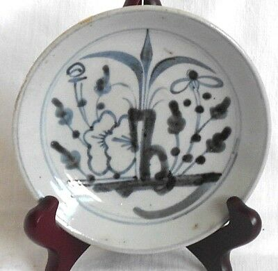 C19Th Chinese Blue And White Dish With With A Floral Style Pattern
