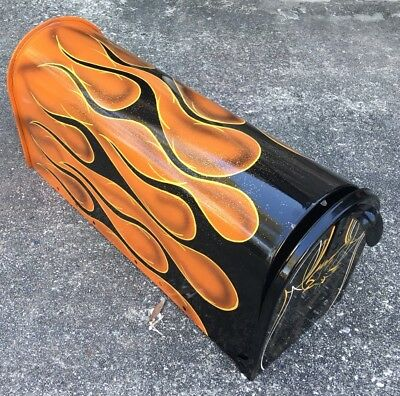 Hot Rat Rod Pinstripe Flame Tattoo Motorcycle Art OBO Metal Mailbox By Krô