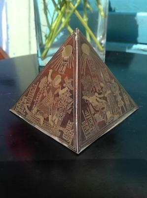 Vintage Art Deco Engraved Bronze Pyramid Paper Weight Egyptology 20's Chic Decor