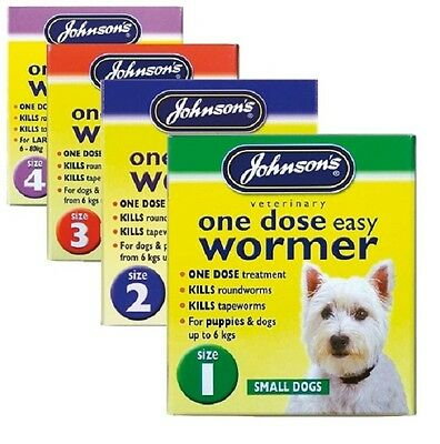 One Dose Johnsons  Easy Wormer Worming Treatment Tablets for Dogs