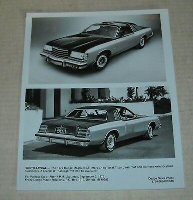 1979 Dodge Magnum Xe Advertising Promo Press / Publicity Photo Auto Enthusiast