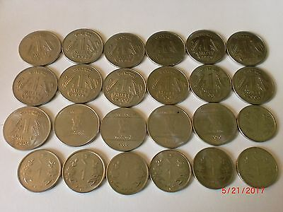"-India-24  "" Re. 1/- "" Old & New Coins-3 Designs -1992-2017(Except 2005+2006)#7*"