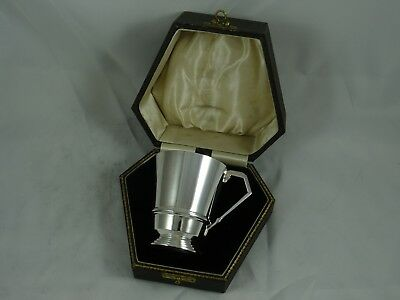 BOXED ART DECO solid silver CHRISTENING MUG, 1935, 147gm