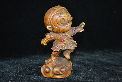 Old Collectible Handwork boxwood chinese Culture myth monkey king netsuke Statue
