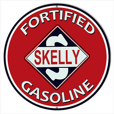 Large Format Skelly Fortified Gasoline Motor Oil Sign 18 Round