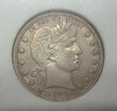 1909 D Barber Quarter, Full Liberty, Nice Detail, Graded Xf