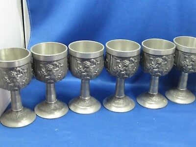 "5"" Lot 6 Antique German Embossed & Engraved Solid Pewter High Heel Cups Drinking"