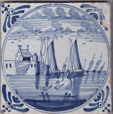 Delft Tile c. 18th / 19th century   (D 18)     Boats in Harbour