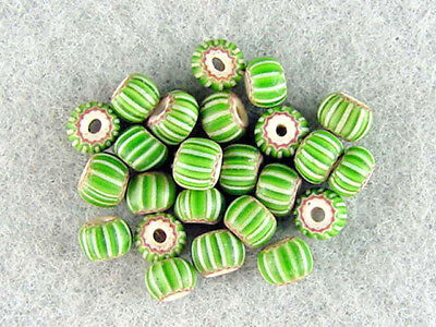 25-Antique-4-Layer-Green-Chevrons-With-Unusual-Green-White-High-Lite-Trade-Beads