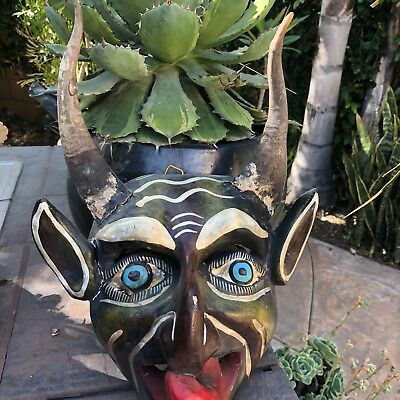 10 Mexican  wood carved mask real animal horns