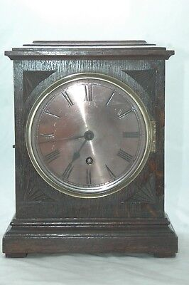 Antique Oak Case Mantle Clock With Key & Pendulum,bevel Glass.
