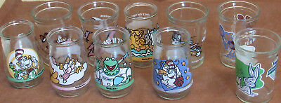 10 DIFFERENT WELCH'S JELLY GLASSES 1990's MUPPETS, CAT IN HAT, BUGS BUNNY, DINOS