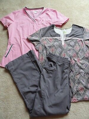Women's Koi & Healing Hands Scrub Tops M and Barco Pants Small